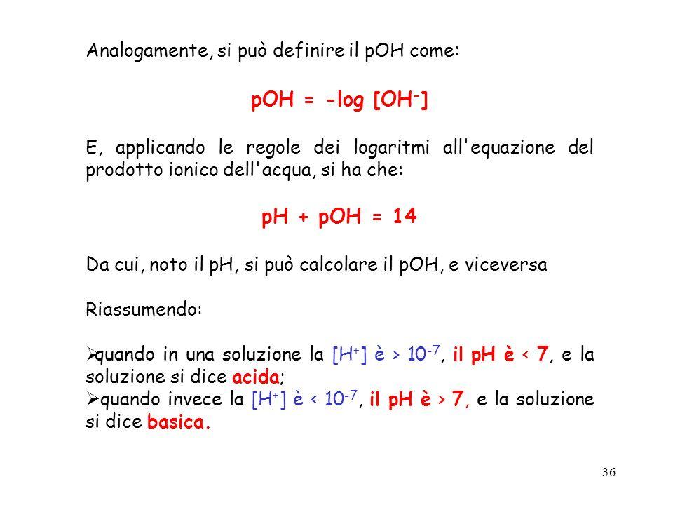 pOH = -log [OH-] pH + pOH = 14